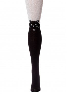 LARMINI Колготки LR-C-CAT-B-B-S-B, цвет черный/серый меланж